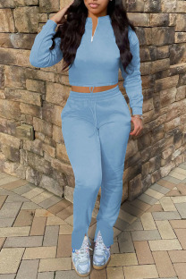 Sky Blue Casual Solid Split Joint Zipper Collar Long Sleeve Two Pieces