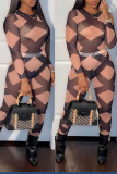 Pink Sexy Plaid Print Split Joint O Neck Long Sleeve Two Pieces
