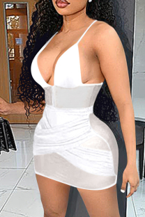 White Sexy Patchwork Solid See-through Backless V Neck Sling Dress Dresses
