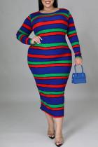 Dark Blue Fashion Casual Striped Print Basic O Neck Long Sleeve Plus Size Dresses