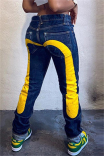 Yellow Fashion Casual Print Basic High Waist Regular Denim Jeans