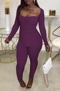 Purple Casual Solid Split Joint Slit Square Collar Long Sleeve Two Pieces