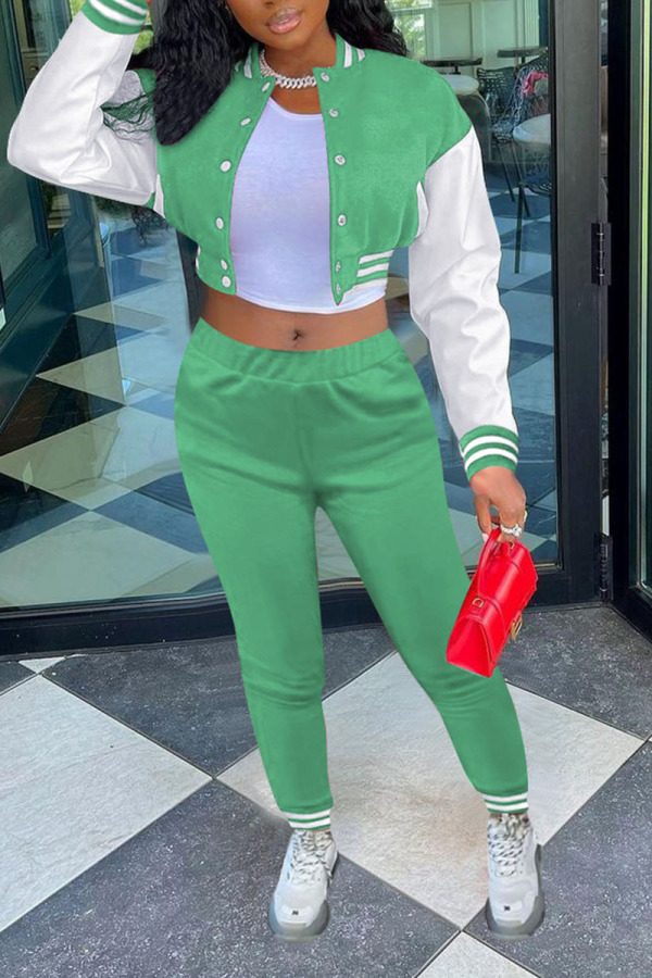 Light Green Casual Solid Split Joint Buckle Long Sleeve Two Pieces