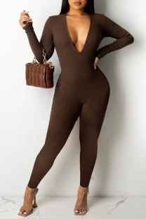 Dark Coffee Sexy Solid Split Joint V Neck Jumpsuits