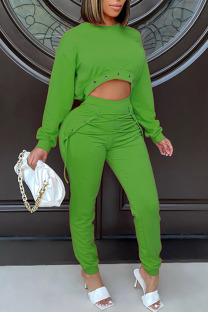 Green Casual Street Solid Split Joint Frenulum Asymmetrical O Neck Long Sleeve Two Pieces