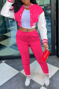 Rose Red Casual Solid Split Joint Buckle Long Sleeve Two Pieces