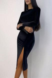 Black Fashion Casual Solid Slit O Neck Long Sleeve Dresses