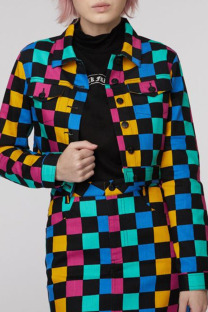 Black Fashion Street Plaid Print Split Joint Buckle Turndown Collar Long Sleeve Two Pieces