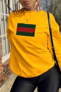 Yellow Casual Sportswear Print Split Joint O Neck Tops