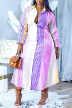 Purple Casual Striped Print Split Joint Buckle Turndown Collar Plus Size Dresses