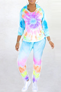 Light Purple Fashion Casual Tie Dye Printing Hooded Collar Long Sleeve Two Pieces