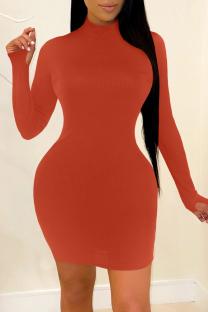 Orange Fashion Casual Solid Basic Turtleneck Long Sleeve Dresses