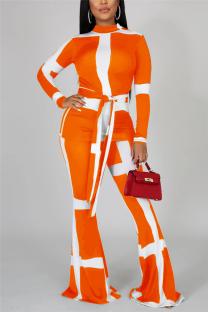 Orange Fashion Casual Long Sleeve Turtleneck Regular Sleeve Regular Print Two Pieces