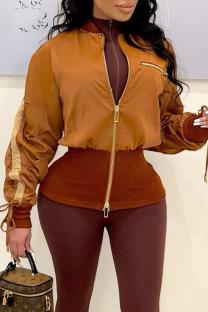 Brown Street Solid Split Joint Zipper Zipper Collar Outerwear