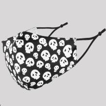Black White Fashion Casual Skull Head Print Split Joint Mask