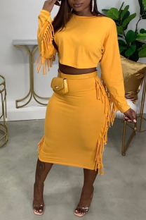 Yellow Casual Solid Tassel Split Joint O Neck Long Sleeve Two Pieces