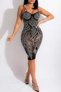 Black Fashion Sexy Hot Drilling Backless Spaghetti Strap Sleeveless Dress