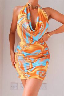 Yellow Fashion Sexy Print Backless Halter Sleeveless Dress Dresses