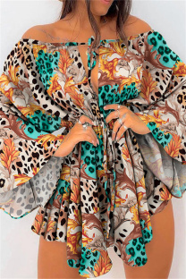Multicolor Fashion Casual Print Leopard Bandage Hollowed Out Off the Shoulder Irregular Dress