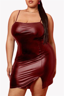 Burgundy Sexy Casual Plus Size Solid Backless Slit Spaghetti Strap Sleeveless Dress