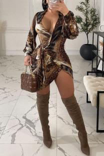 Colour Sexy Print Bandage Split Joint V Neck Irregular Dress Dresses