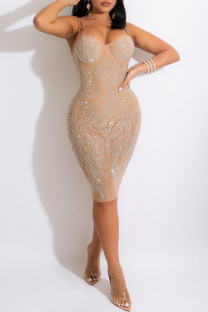 Apricot Fashion Sexy Hot Drilling Backless Spaghetti Strap Sleeveless Dress