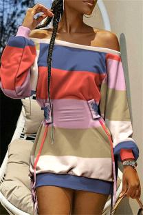 Colour Fashion Casual Print Split Joint Off the Shoulder Long Sleeve Dresses
