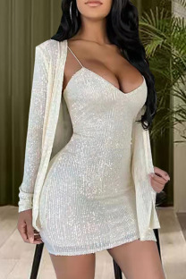 Cream White Sexy Solid Split Joint  Sequins Spaghetti Strap Long Sleeve Two Pieces