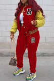 Red Fashion Casual Patchwork Letter Cardigan Long Sleeve Two Pieces