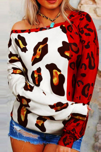 Red Fashion Casual Print Leopard Split Joint Tops