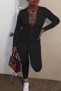 Black Fashion Casual Solid Split Joint Zipper Collar Skinny Jumpsuits