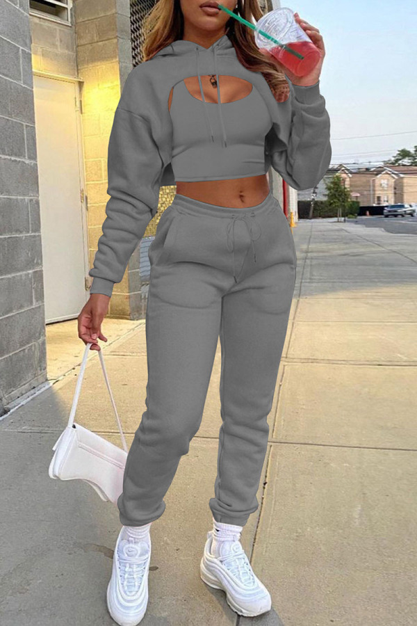 Dark Gray Casual Street Solid Split Joint Hooded Collar Long Sleeve Three Pieces