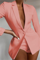 Pink Fashion Casual Solid Basic Turndown Collar Long Sleeve Two Pieces
