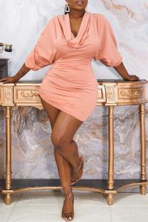 Light Orange Sexy Solid Split Joint Draw String Fold Asymmetrical Collar One Step Skirt Dresses