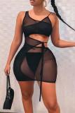 Black Fashion Sexy Solid Split Joint See-through U Neck Sleeveless Dress Dresses