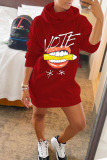 Red Casual Print Split Joint Hooded Collar Long Sleeve Dresses