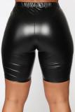 Black Fashion Casual Solid Basic Skinny High Waist Shorts