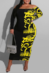 Yellow Sexy Print Split Joint Off the Shoulder One Step Skirt Dresses