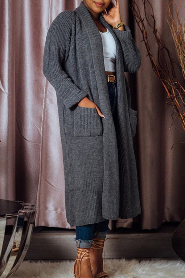 Black Fashion Casual Solid Split Joint Outerwear