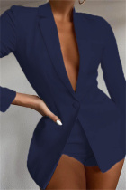 Dark Blue Fashion Casual Solid Basic Turndown Collar Long Sleeve Two Pieces
