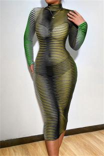Green Fashion Sexy Striped Print See-through Turtleneck Long Sleeve Dresses