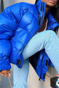Blue Fashion Casual Solid Split Joint Zipper Collar Outerwear
