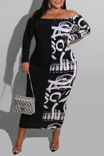 White Sexy Print Split Joint Off the Shoulder One Step Skirt Dresses