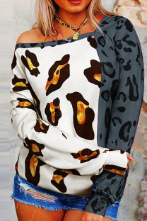 Grey Fashion Casual Print Leopard Split Joint Tops