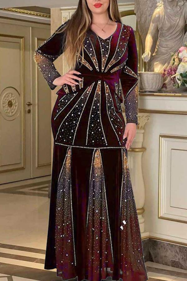 Burgundy Fashion Patchwork Hot Drill V Neck Long Sleeve Plus Size Dresses