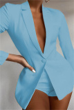 Sky Blue Fashion Casual Solid Basic Turndown Collar Long Sleeve Two Pieces