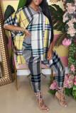 Yellow Fashion Casual Plaid Print Slit Turndown Collar Half Sleeve Two Pieces