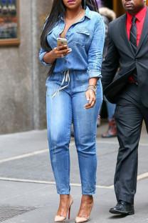 Blue Fashion Casual Solid Basic Turndown Collar Regular Jumpsuits
