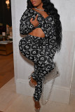 Black Fashion Casual Print Basic V Neck Long Sleeve Two Pieces