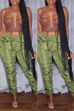 Green Fashion Casual Solid Fold Mid Waist Trousers